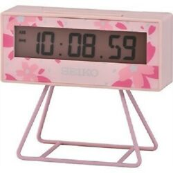 Seiko LCD Lunar Miniature Marathon Sakura Pink Mini Timer Alarm Clock QHL082P