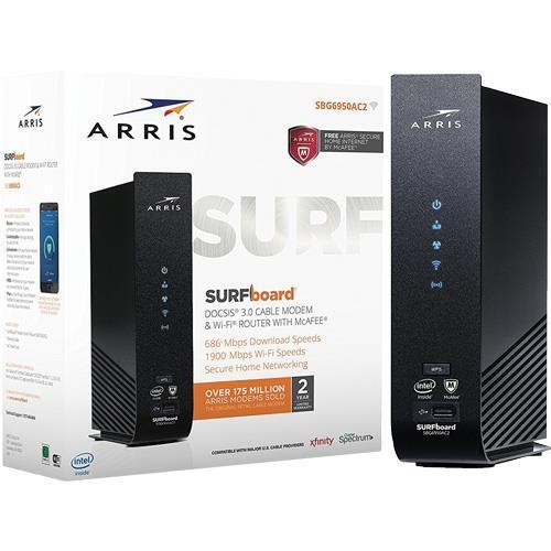 ARRIS SURFboard Dual-Band Wireless-AC Router with DOCSIS 3.0 Cable Modem Black SBG6950