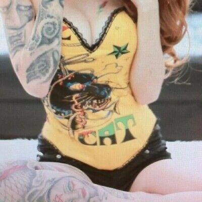 Yellow Goth Steam Punk Rock Tattoo No Bone Fashion Hook Corset Sexy Hell Cat XL