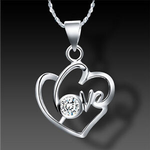 Love Heart Romantic Necklace 925 Sterling Silver Plate w Swarovski ELEMENTS AU