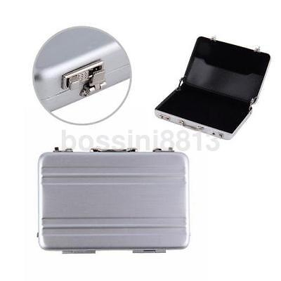 Newly Design Metal Mini Suitcase Business Card Holder Box Case Silver Us