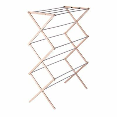Pre Assembled Laundry Collapsible Folding Wooden Clothes Drying Rack Organizer
