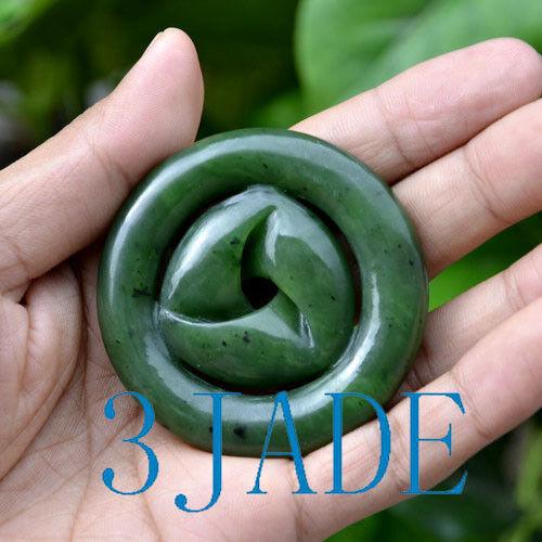 58mm Big Green Nephrite Jade Mobius Strip Pendant/ Moebius Band Necklace