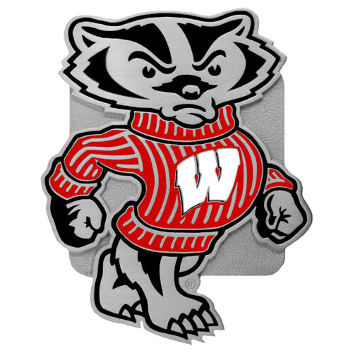 wisconsin badgers color logo emblem metal trailer hitch cover