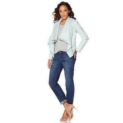 G By Giuliana Rancic Seafoam Ultra Luxe Jacket W Detachable Collar Sz  Xs New
