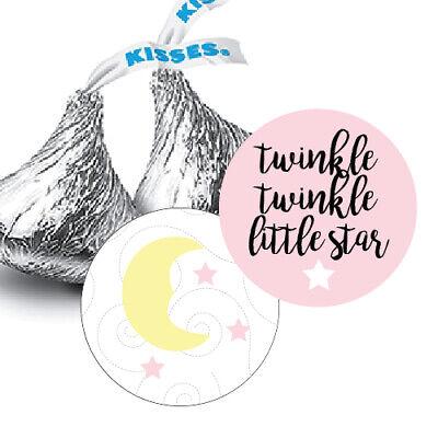 108  Twinkle Twinkle Little Star Girl Baby Shower Hershey Kiss Stickers Pink - Twinkle Little Star Baby Shower