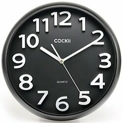 Wall Clock 13 Inch with Large 3D Numbers Silent Non Ticking Quartz