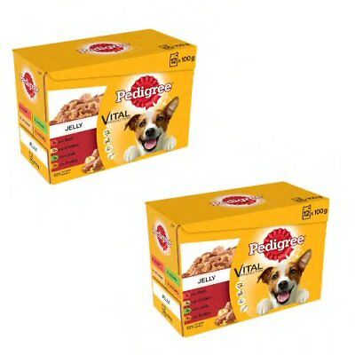 Dog food Pedigree Dog Pouches Mixed Varieties in Jelly, 24 x 100g pet food