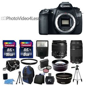 NEW Canon EOS 60D SLR Camera + 4 Lens Kit 18-55mm IS 75-300 + 24GB Full Kit USA