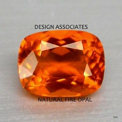 MEXICAN FIRE OPAL 8 x 6 MM CUSHION CUT ALL NATURAL BEAUTIFUL COLOR