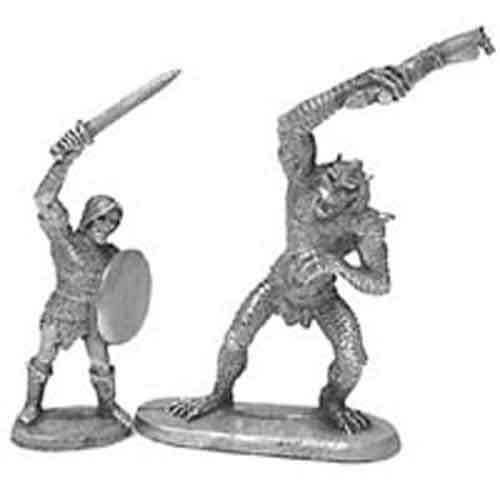 Ral Partha Beowulf and Grendell #01-189 Unpainted Classic Fantasy Metal Figure