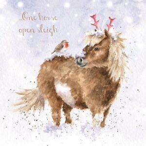 Wrendale Designs Christmas Card One horse open sleigh & robin