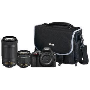 Nikon D3400 DSLR Camera with 18-55mm / 70-300mm Lenses and Bag
