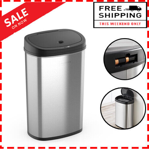 13.2 Gal/50 L Motion Sensor Trash Can, Stainless Steel, Cleanliness & Hygiene