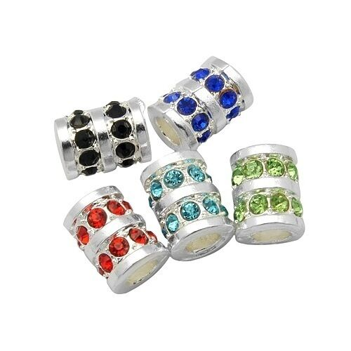 Wholesale Lot 20 Silver Tone Tube European Bead Spacers with Rhinestone Accents