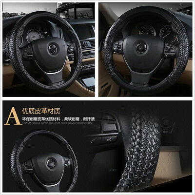 Black PU Leather 38cm 15 Comfortable Car Steering Wheel Cover For All Seasons