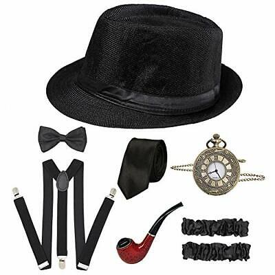 Gatsby Mens Costumes (CHUANGLI 1920S Mens Great Gatsby Accessories Set Roaring 20s 30s A)