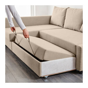 Skiftebo beige Corner sofa - bed with storage