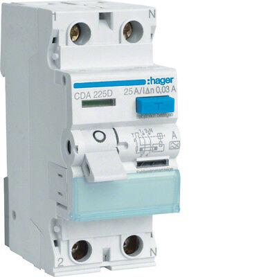 Gebraucht, HAGER FI Schalter FI-Schalter CDA225D CD A 225 D 2 polig 0,03/25A TOP ANGEBOT gebraucht kaufen  Blieskastel