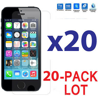 20x Wholesale Lot Tempered Glass Screen Protector for Apple iPhone 5/5C/5S