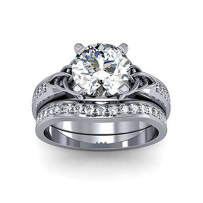 3.20 Ct. Natural Round Cut Celtic Knot Diamond Engagement Set - GIA Certified