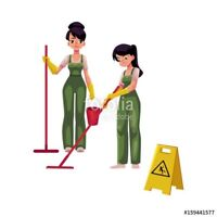 Two girls two mops !