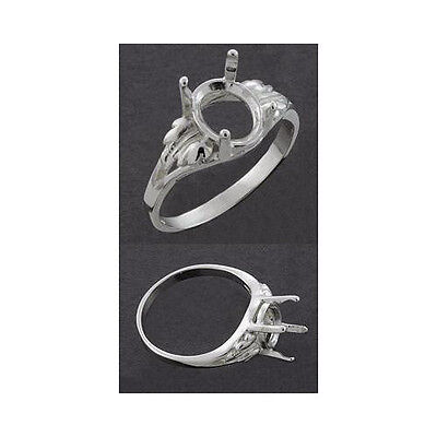 8x6mm Oval Ring Setting ((8x6mm - 12x10mm) Sterling Silver Oval Leaf Ring Setting (Ring Sizes 5,6,7,8 ) )