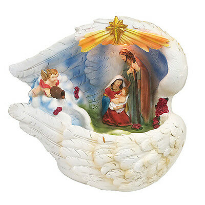 Holy Family w. Light and Water Fountain Holy Family Decoration Statue Religious ()
