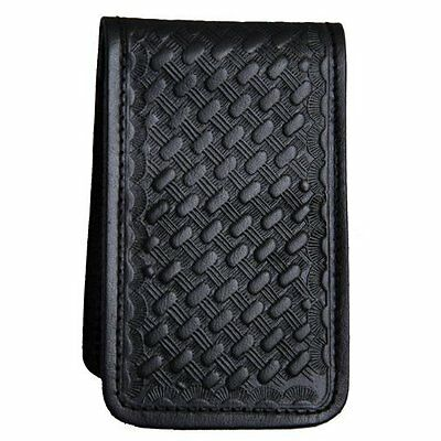 Police Security Private Eye Leather Memo Book Note Pad Holder Case Basketweave