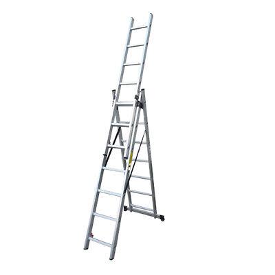 Escalera profesional multiusos triple y extensible 3 x 7 peldaños de aluminio