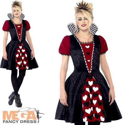 Dark Red Queen of Hearts Ladies Teen Fancy Dress Womens Adults Halloween Costume