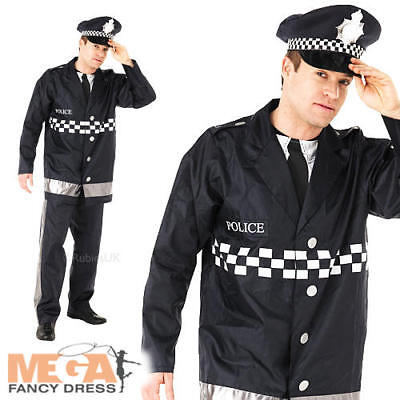 Policeman Mens Fancy Dress Cops Uniform Occupation Police Man Adults Costume New