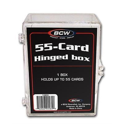 - 10 Ten - BCW Brand 55 Card Storage Plastic Case Hinged Snap Box - hb55