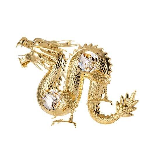 24K gold plated dragon with Swarovski crystal element