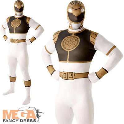 White Power Ranger Mens Fancy Dress Mighty Morphin 2nd Skin Suit Adults Costume - White Mighty Morphin Power Ranger Costumes Adults