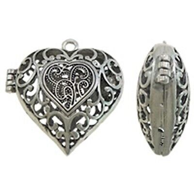 HUGE Antiqued Silver Open Scroll Heart 50mm Hinged Bead Cage Locket Pendant