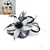 White and Black Wedding Fascinator