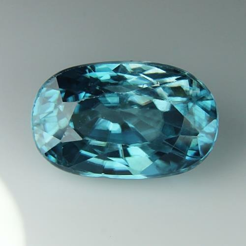 3.12 Cts Natural Blue Zircon Cambodia Oval Shape Loose Gemstone Free Shipping