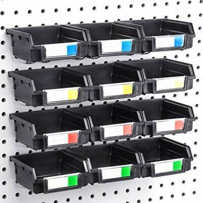 Pegboard Bins - 12 Pack Black - Hooks To Any Peg Board - Organize Hardware Acc