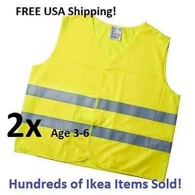 2x Ikea Patrull Reflective Safety Vest Childrens Kids 3-6 Small Yellow Nwt