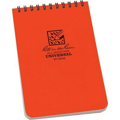 Rite In The Rain Or46 Top Spiral Writing All Weather Paper Orange Notebook