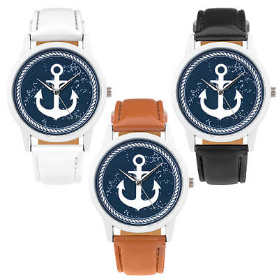 Armbanduhr mit Anker Maritim Vintage Style Unisex Quarzuhr Lederarmband Uhr