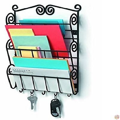 Wall Mount Mail Letter And Key Holder Storage Sorter Organizer Mounted Black New