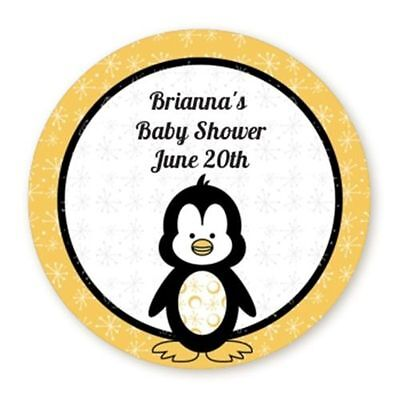 Penguin Yellow - Round Personalized Baby Shower Sticker - 6 sizes