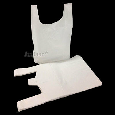 1000 x STRONG WHITE PLASTIC VEST CARRIER BAGS 10x15x18