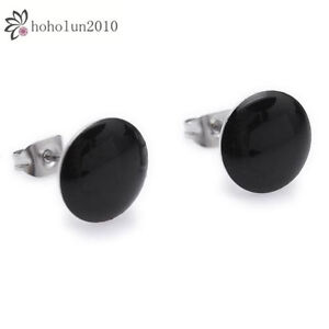 Black Circle Beauty Stainless Steel Stud Hoop Mens Earrings