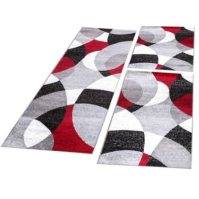 Bettumrandung Läufer Teppich Modern Abstrakte Halbkreise Rot Grau Läuferset 3Tlg