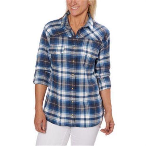 Womens flannel shirt ebay for Women s stewart plaid shirt