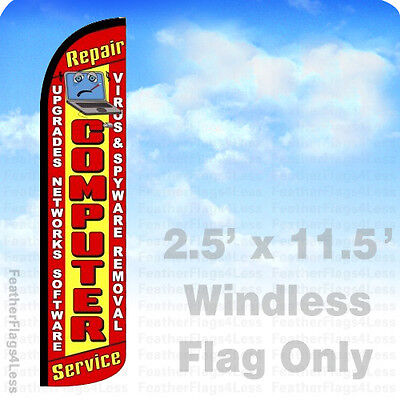 Computer Repair Service   Windless Swooper Feather Flag 2 5X11 5 Sign   Rz