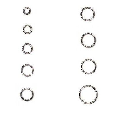 Round Stainless Steel 18 Gauge Jump Rings, Dark Silver Open Jumprings PKG 50